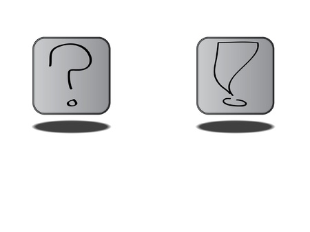 Grey Metal Icon Question and Exclamation Set Stock Vector - 16100631