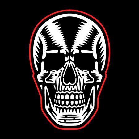 Bizarre dead head. Retro skull. Cool print for t-shirt. Vintage design.
