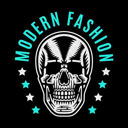 Vintage white skull. Cool colorful print for t-shirt. Bizarre dead head. Retro design. Modern fashion.