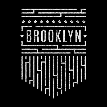 Vintage white grunge banner. Brooklyn. Striped vintage poster.  Design for t-shirt. Illustration