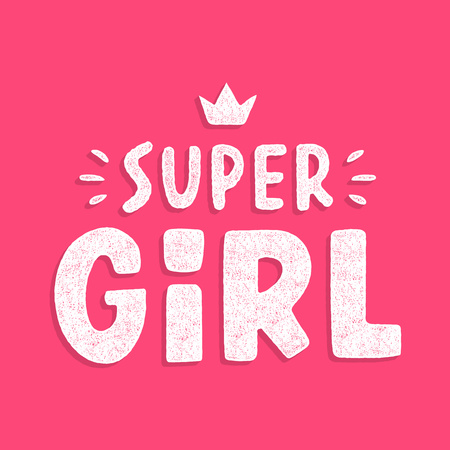 Super girl. Retro colorful lettering. Vintage typography. Design for t-shirt. Hand drawn grunge phrase.