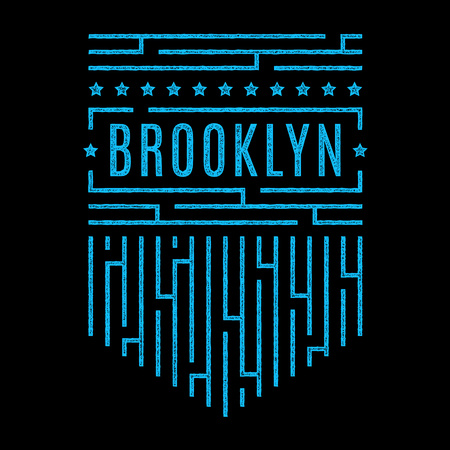 Vector retro illustration on the theme of Brooklyn.  Stylized colorful vintage grunge typography, banner, flyer, postcard, t-shirt graphics, poster, print.