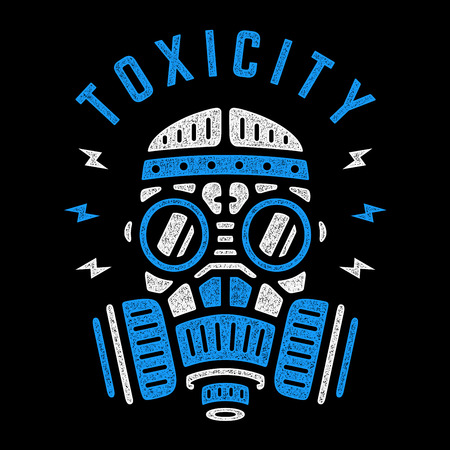 Toxicity. Vector blue respirator. Retro colorful poster. Vintage gas mask. Design for t-shirt.  イラスト・ベクター素材