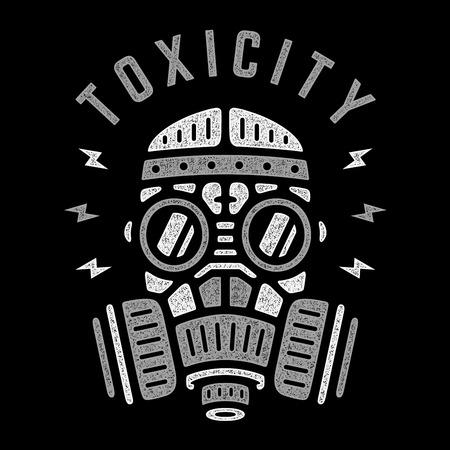 Toxicité. Respirateur de vecteur. Affiche rétro. Masque à gaz vintage. Conception pour t-shirt. Vecteurs