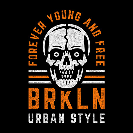 Retro grunge skull. Vintage colorful print for t-shirt. Bizarre dead head. Forever young and free. Brooklyn. Urban style.