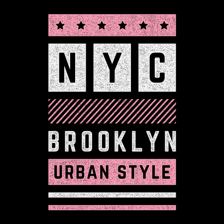 Vector retro illustration on the theme of Brooklyn. Urban style. Stylized vintage pink grunge typography, banner, flyer, postcard, t-shirt graphics, poster, print.