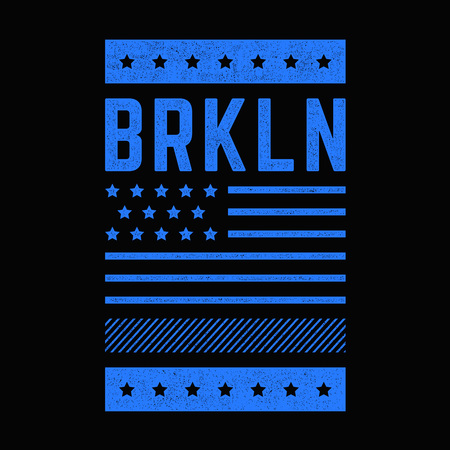 Vintage design. Brooklyn. New York. Blue, grunge banner. Retro print for t-shirts. Design for t-shirts, posters. Ilustrace
