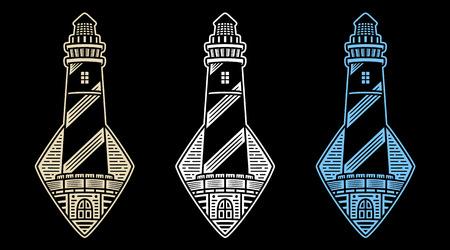 Retro lighthouses. Vintage design for t-shirt. White emblems. Authentic prints. Monochrome logos. Stickers.