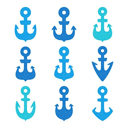 Set of retro colorful anchors.
