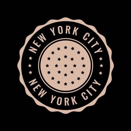 Vector retro illustration on the theme of NYC. Urban. Stylized vintage  typography, banner, flyer, postcard, t-shirt graphics, poster, print. Archivio Fotografico - 150072577