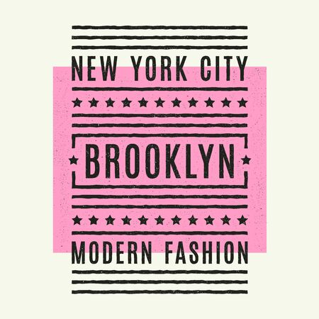 Vector retro illustration on the theme of Brooklyn. Urban. New York city. Stylized vintage grunge typography, banner, flyer, postcard, t-shirt graphics, poster, print. Archivio Fotografico - 150271879