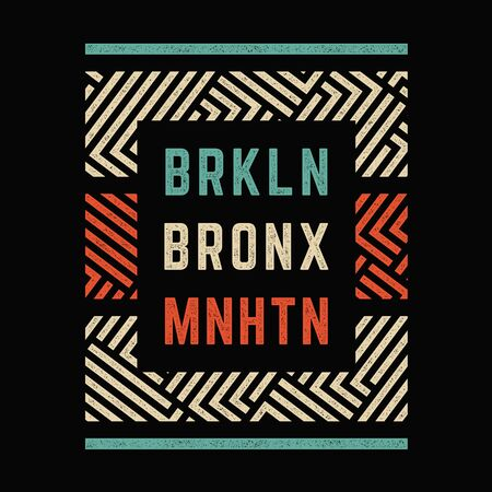 Vector retro illustration on the theme of Brooklyn. Urban style. Stylized vintage grunge typography, banner, flyer, postcard, t-shirt graphics, poster, print. Archivio Fotografico - 150271898