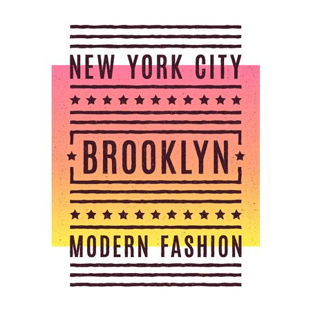 Vector retro illustration on the theme of Brooklyn. Urban. New York city. Stylized vintage grunge typography, banner, flyer, postcard, t-shirt graphics, poster, print. Archivio Fotografico - 150271916