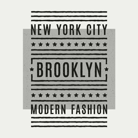 Vector retro illustration on the theme of Brooklyn. Urban. New York city. Stylized vintage grunge typography, banner, flyer, postcard, t-shirt graphics, poster, print. Archivio Fotografico - 150271980