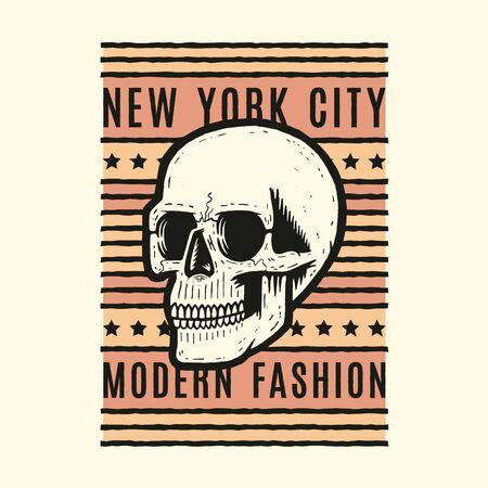 Retro colorful skull. Print for t-shirt. Bizarre dead head. Modern fashion. New York. Archivio Fotografico - 150272035