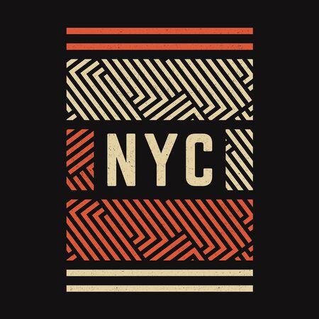 Vintage print. Modern retro banner. Geometric pattern. Retro poster. New York. Vettoriali