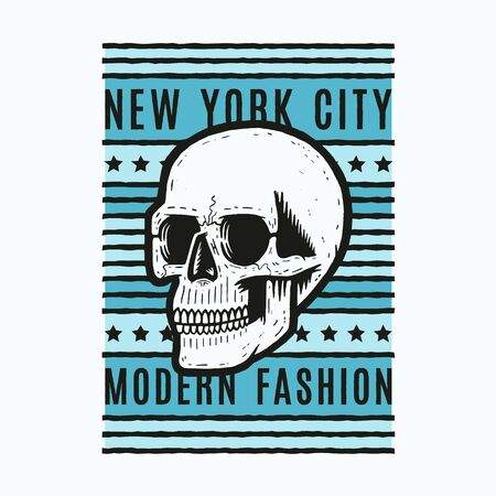 Retro colorful skull. Print for t-shirt. Bizarre dead head. Modern fashion. New York.