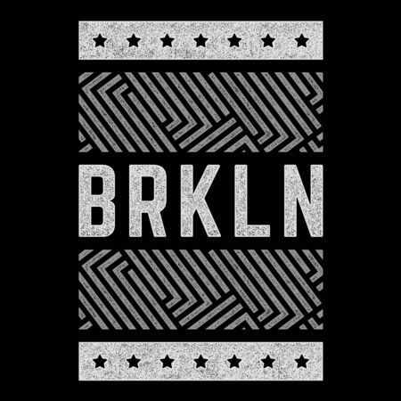 Vector retro illustration on the theme of Brooklyn. Urban style. Stylized vintage grunge typography, banner, flyer, postcard, t-shirt graphics, poster, print. Archivio Fotografico - 150272039