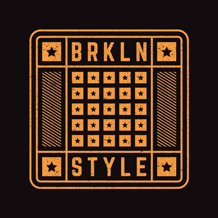 Vector retro illustration on the theme of Brooklyn. Modern. Stylized vintage typography, banner, flyer, postcard, t-shirt graphics, poster, print. Archivio Fotografico - 150323870