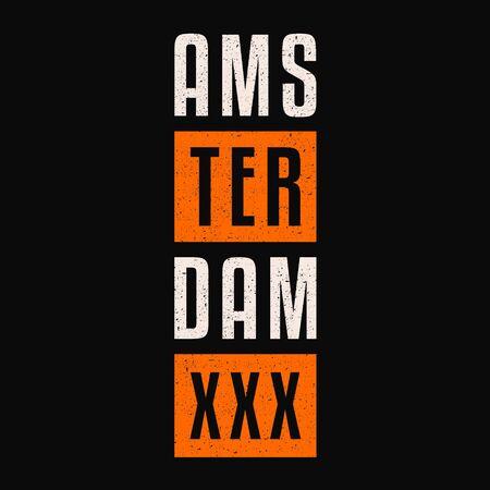 Amsterdam. Retro grunge banner. Vintage retro print. Illustration