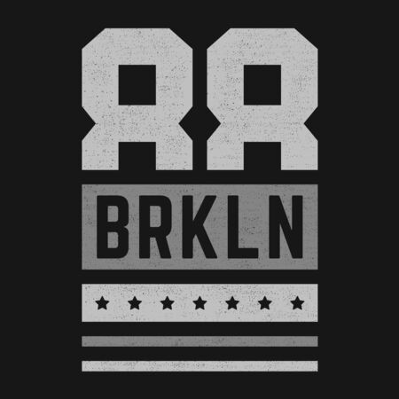 Vector retro illustration on the theme of Brooklyn. Modern. Stylized vintage typography, banner, flyer, postcard, t-shirt graphics, poster, print. Archivio Fotografico - 150323960