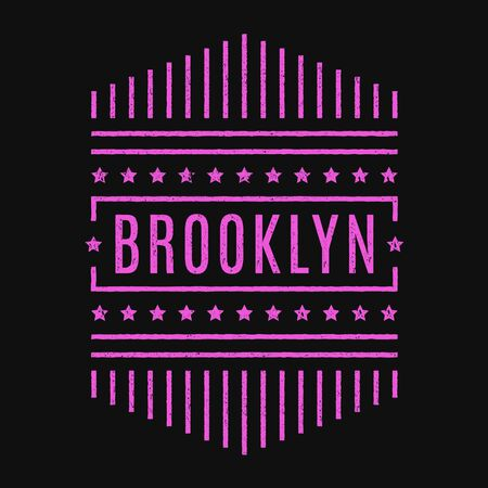 Vector retro illustration on the theme of Brooklyn. Modern. Stylized vintage typography, banner, flyer, postcard, t-shirt graphics, poster, print.