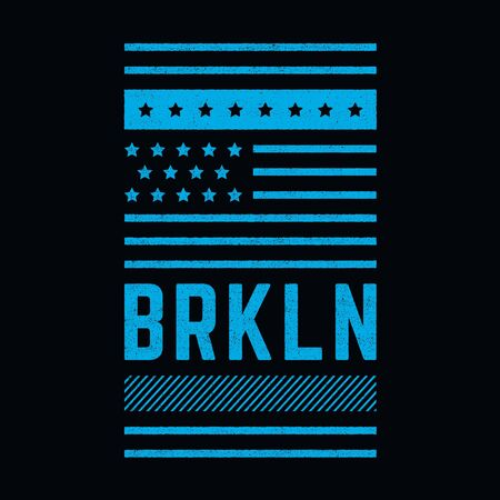 Vector retro illustration on the theme of Brooklyn. Modern. Stylized vintage typography, banner, flyer, postcard, t-shirt graphics, poster, print. Archivio Fotografico - 150323976