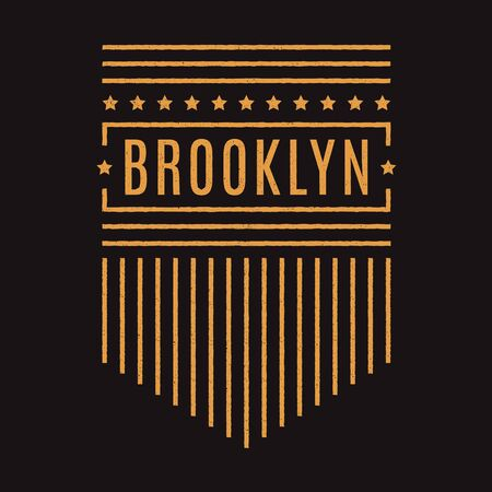 Vector retro illustration on the theme of Brooklyn. Urban. Star. Stylized vintage grunge typography, banner, flyer, postcard, t-shirt graphics, poster, print.