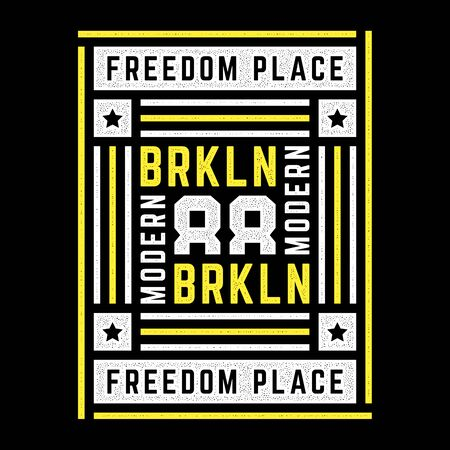 Vector retro illustration on the theme of Brooklyn. Freedom place. Modern. Stylized vintage grunge colorful typography, banner, flyer, postcard, t-shirt graphics, poster, print.