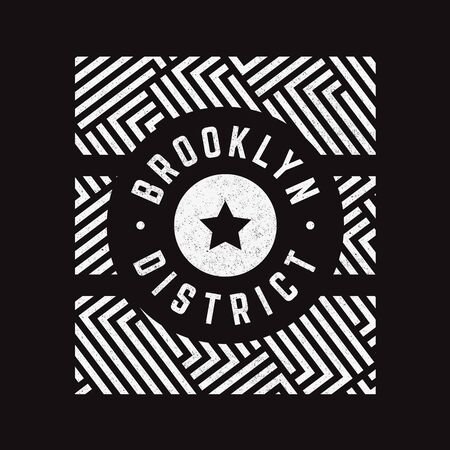 Vector retro illustration on the theme of Brooklyn. Modern. Stylized vintage typography, banner, flyer, postcard, t-shirt graphics, poster, print. Archivio Fotografico - 150324009