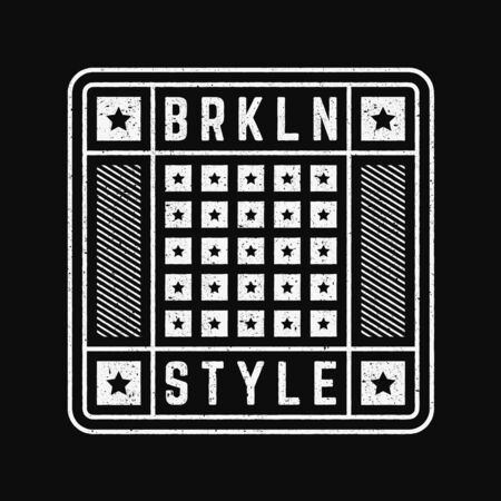 Vector retro illustration on the theme of Brooklyn. Urban style. Stylized vintage grunge typography, banner, flyer, postcard, t-shirt graphics, poster, print. 写真素材 - 150417251