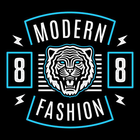Roaring tiger poster. Modern emblem. Vintage tiger head. Retro design. Modern fashion.
