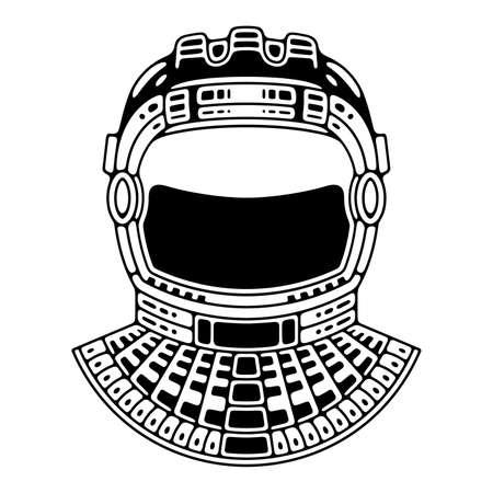 Spaceman suit. Modern space  . Monochrome emblem. Ilustrace