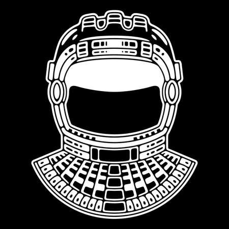 Spaceman suit. Modern space . Monochrome emblem.