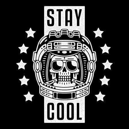 Spaceman skull. Modern space. Monochrome emblem. Stay cool.