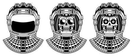 Spaceman skull. Modern space. Monochrome emblem.