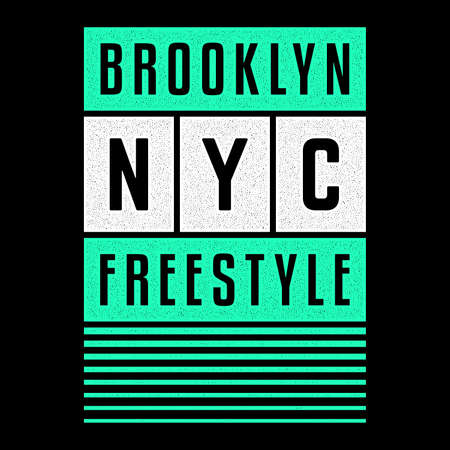 Vector retro illustration on the theme of Brooklyn. Urban. Modern. Stylized vintage grunge white typography, t-shirt graphics, poster, print.