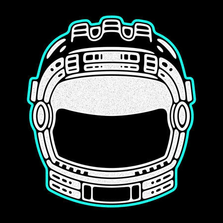 Spaceman suit. Modern space logo. Monochrome emblem. Ilustrace