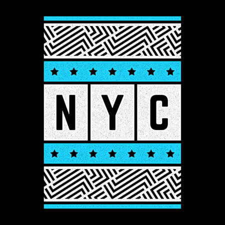 Vector retro illustration on the theme of New York city. Urban. Modern. Stylized vintage grunge white typography, t-shirt graphics, poster, print.