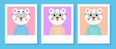 Cute bear with glasses. Art for t-shirt. Vettoriali