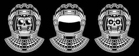 Spaceman skull. Modern space logo. Monochrome emblem.