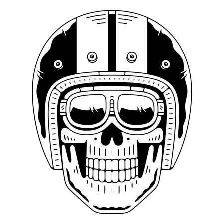 Retro skull in  helmet. Vintage emblem.