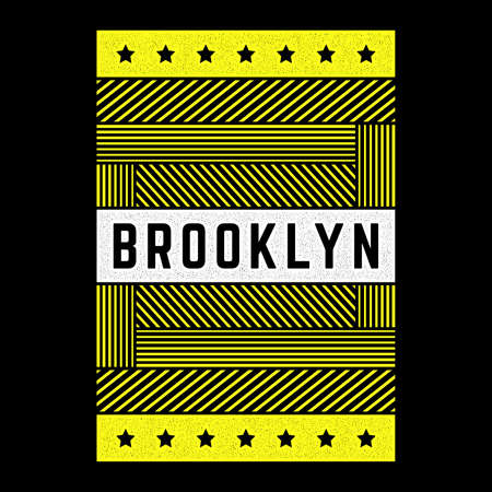 Vector retro illustration on the theme of Brooklyn. Urban. Modern. Stylized vintage grunge striped, poster, print.