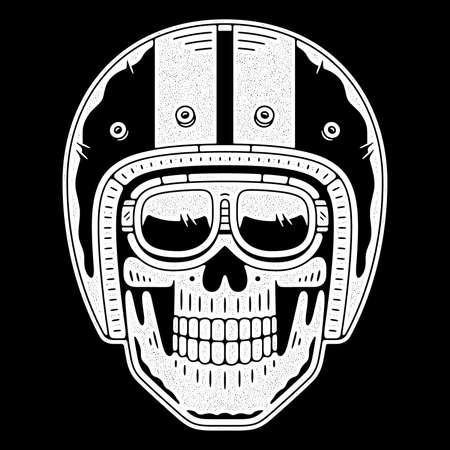 Retro grunge skull in moto helmet. Vintage emblem. Authentic skeleton logo.