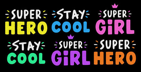 Stay cool lettering. Retro grunge slogan for t-shirt. Vintage colorful lettering. Vettoriali