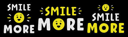 Retro lettering. Vintage typography. Smile more. Quote for banner.