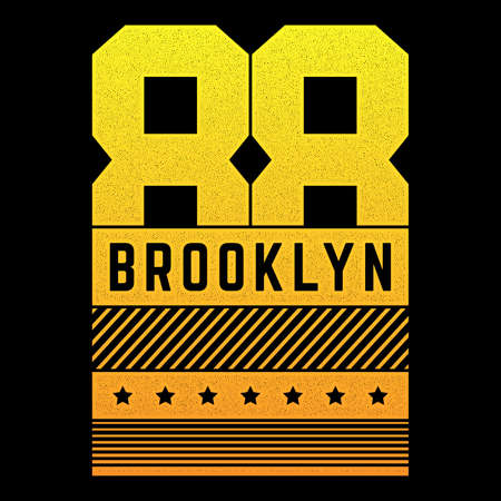 Vector retro illustration on the theme of Brooklyn. Urban. Modern. Stylized vintage grunge typography, poster, print.