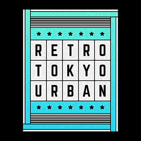 Vector colorful vintage illustration on the theme of Tokyo. Stylized retro poster, print.