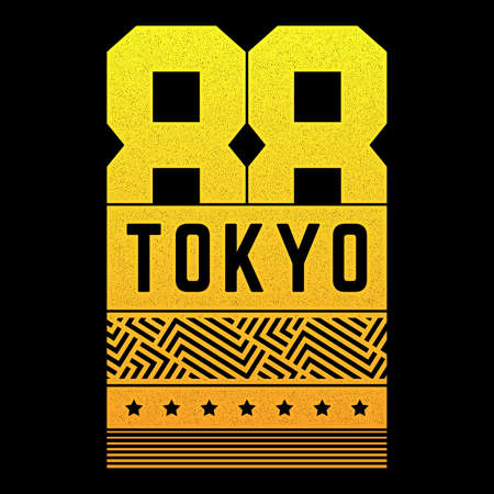 Vector vintage illustration on the theme of Tokyo. Stylized retro poster, print.