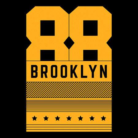 Vector retro illustration on the theme of Brooklyn. Urban. Modern. Stylized vintage grunge orange typography, t-shirt graphics, poster, print. Banco de Imagens - 157557298